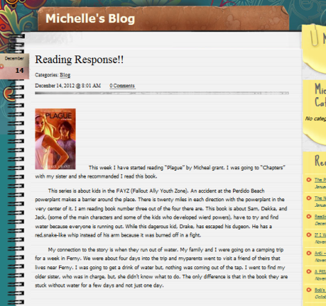 Michelle Reading Response